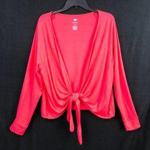 LIVI Lane Bryant 14 16 Neon Pink Tie Waist Top
